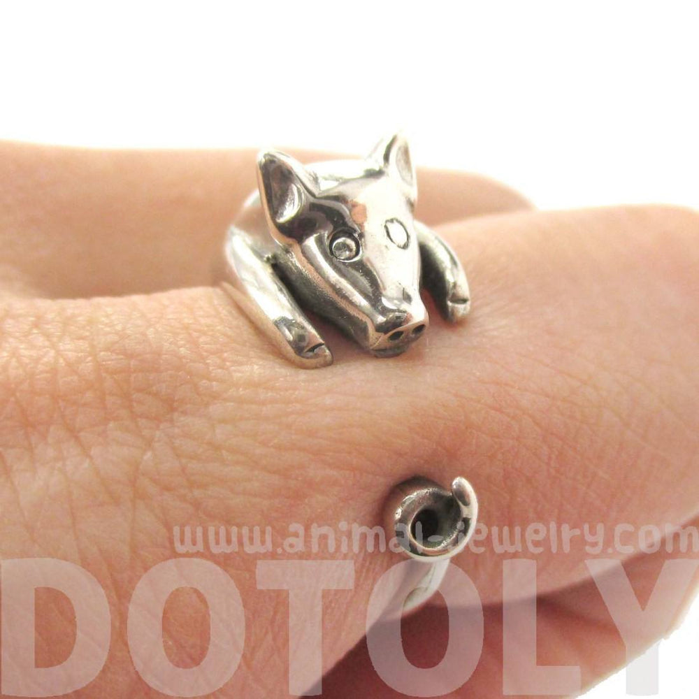 3D Pig Piglet Shaped Animal Wrap Around Ring in Sterling Silver