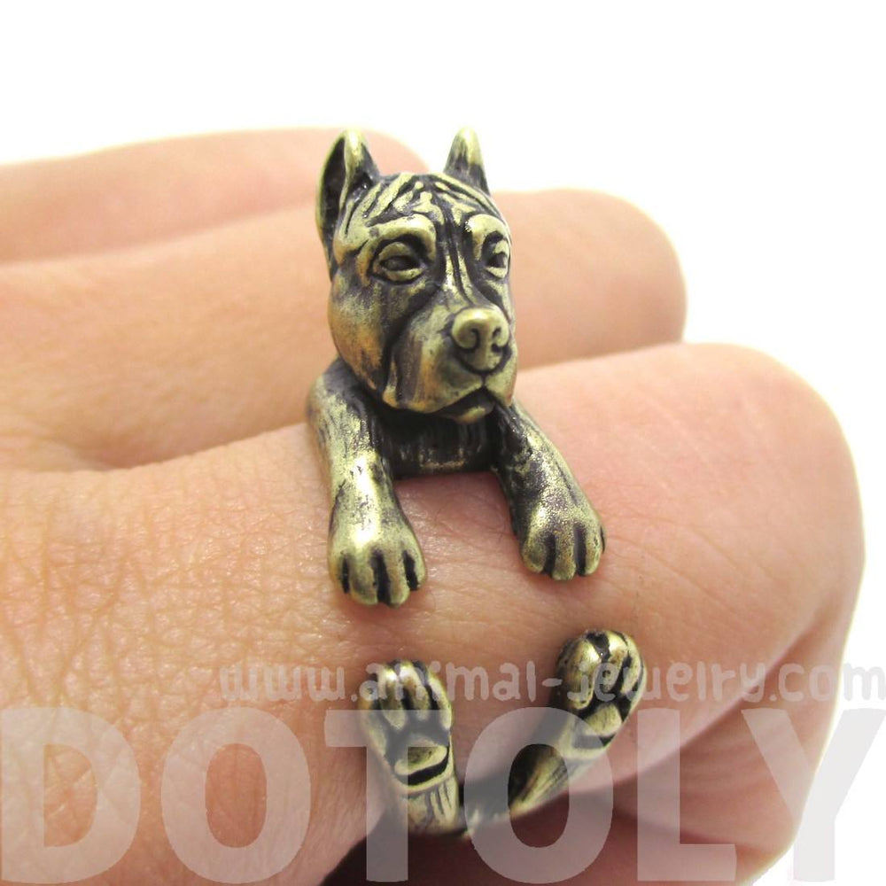 Pit Bull With Cropped Ears Shaped Animal Ring in Brass