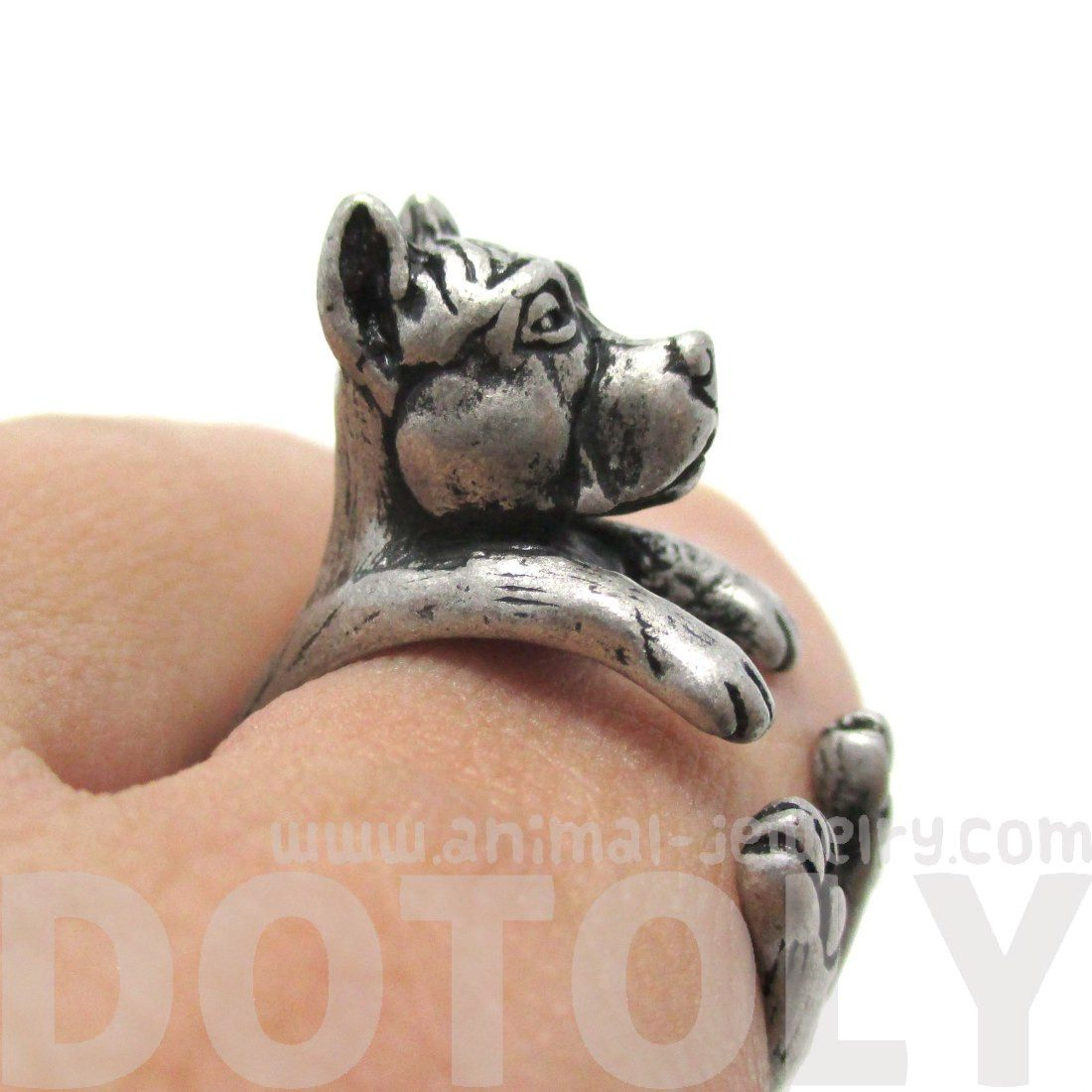 Pit Bull With Cropped Ears Shaped Animal Ring in Silver