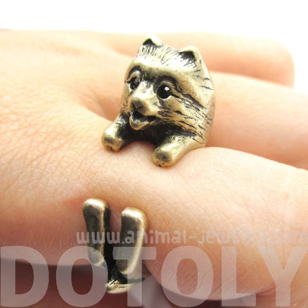 Realistic Pomeranian Pom Puppy Dog Shaped Animal Wrap Ring in Brass