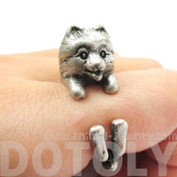 Realistic Pomeranian Pom Puppy Dog Shaped Animal Wrap Ring in Silver