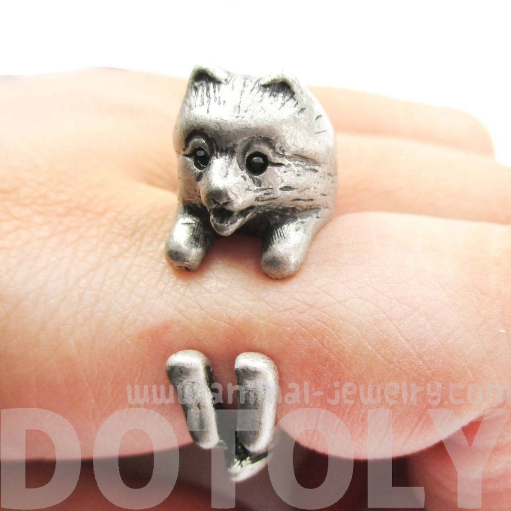silver pomeranian realistic pomeranian pom puppy dog shaped animal wrap ring 5923