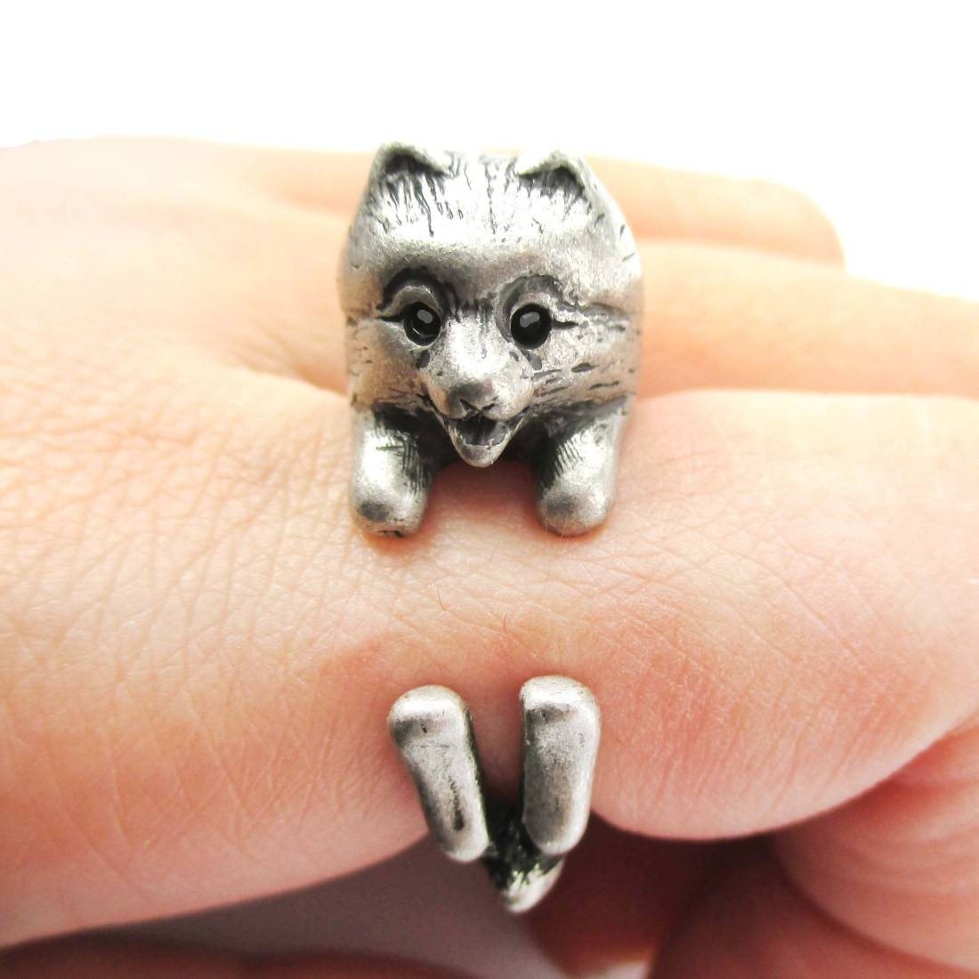 silver pomeranian realistic pomeranian pom puppy dog shaped animal wrap ring 596