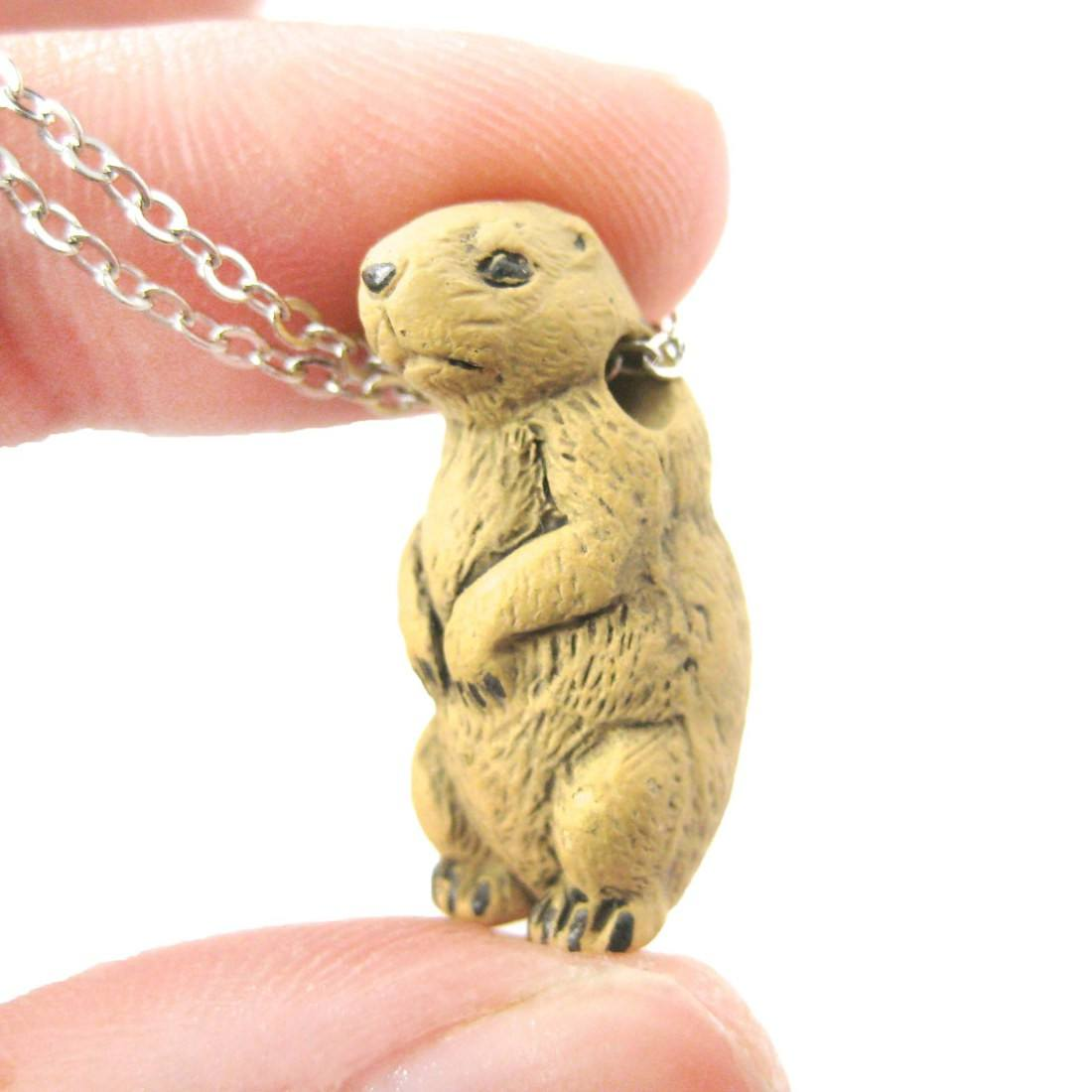 Realistic Prairie Dog Ceramic Animal Pendant Necklace | Handmade