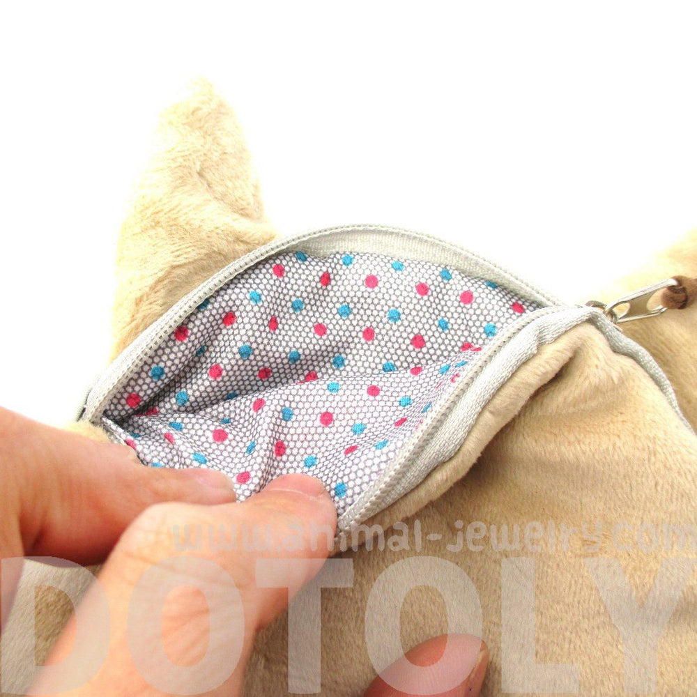 Realistic Pug Puppy Dog Face Shaped Soft Fabric Coin Purse Make Up Bag