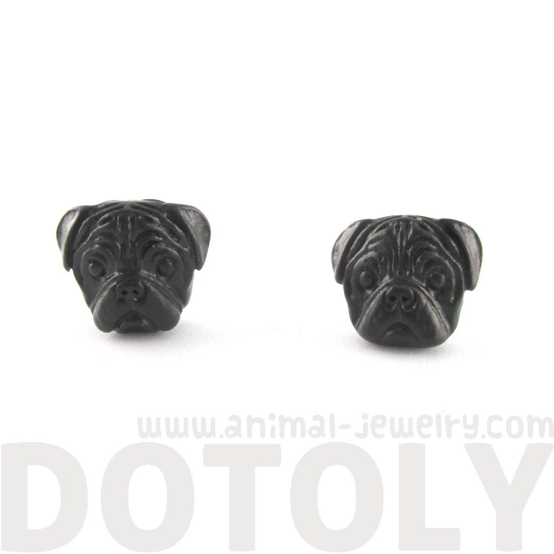 3D Pug Puppy Dog Face Shaped Stud Earrings in Black