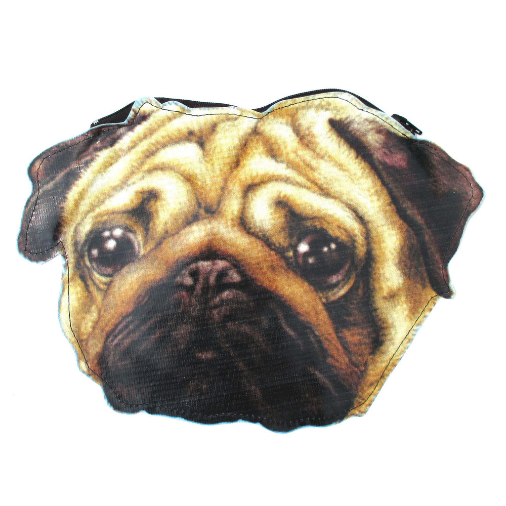Cute Pug Puppy Dog Head Shaped Vinyl Animal Digital Print Clutch Bag