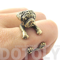 Pug Puppy Dog Shaped Animal Wrap Ring in Brass | DOTOLY