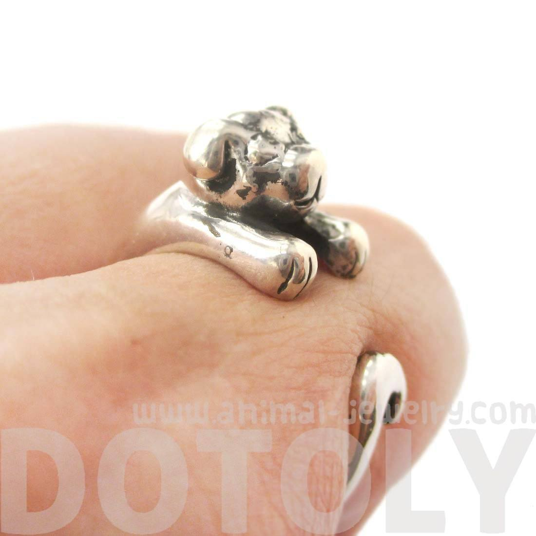 Realistic Puppy Dog Shaped Animal Wrap Ring in 925 Sterling Silver
