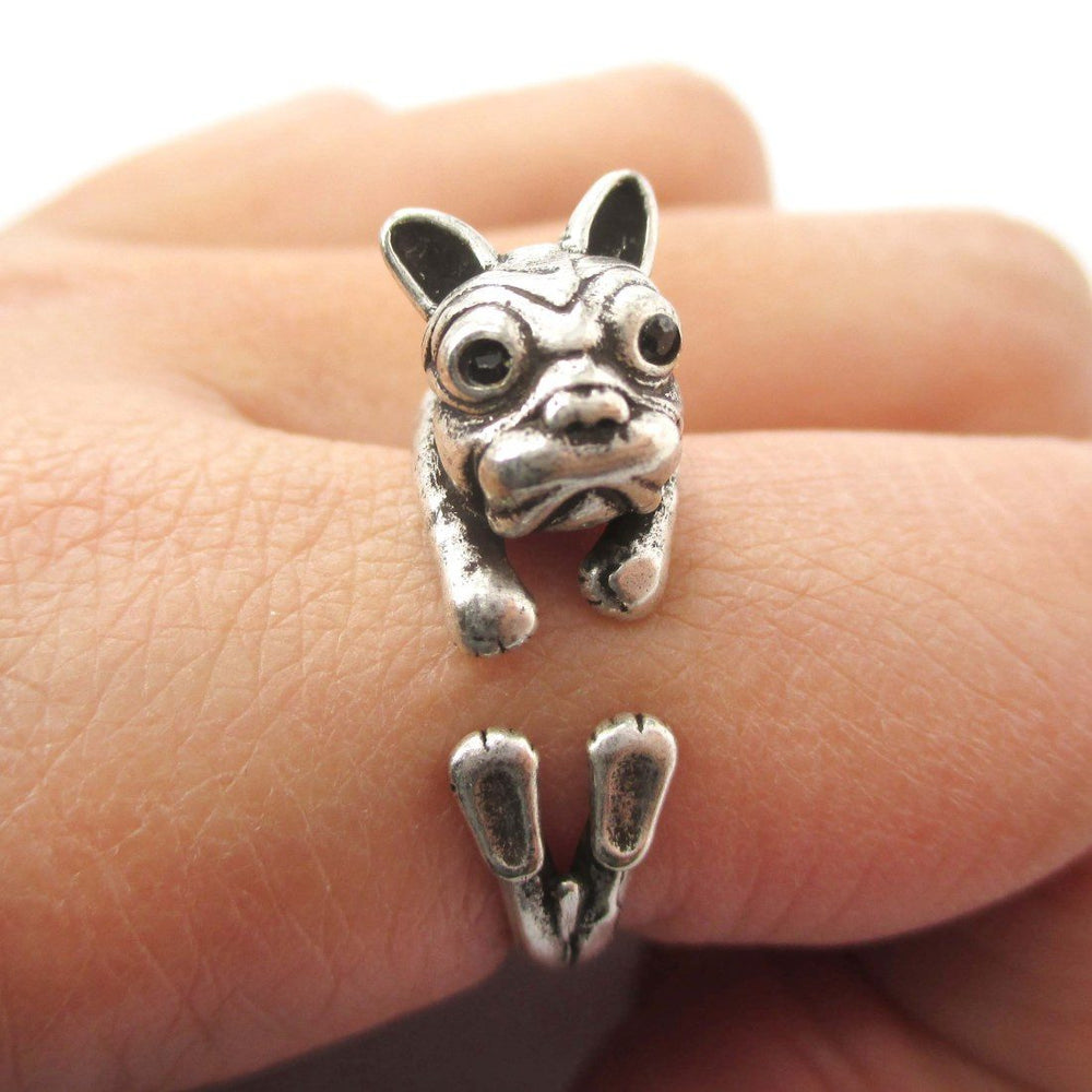 Puppy Dog Shaped Animal Wrap Ring in Silver | Gifts for Dog Lovers