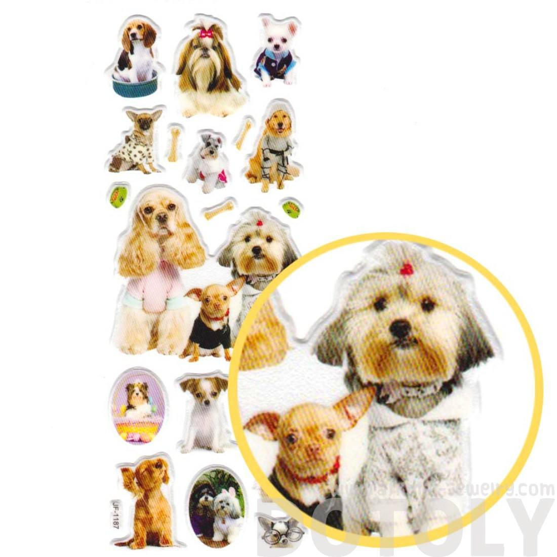Realistic Puppy Dogs in Funny Costumes Shaped Animal Photo Stickers