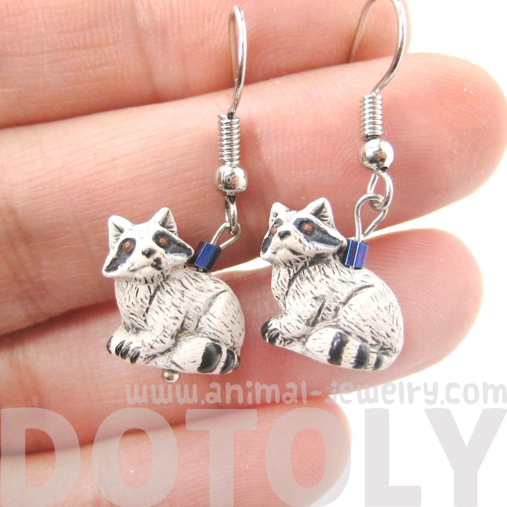Realistic Raccoon Shaped Porcelain Ceramic Animal Dangle Earrings