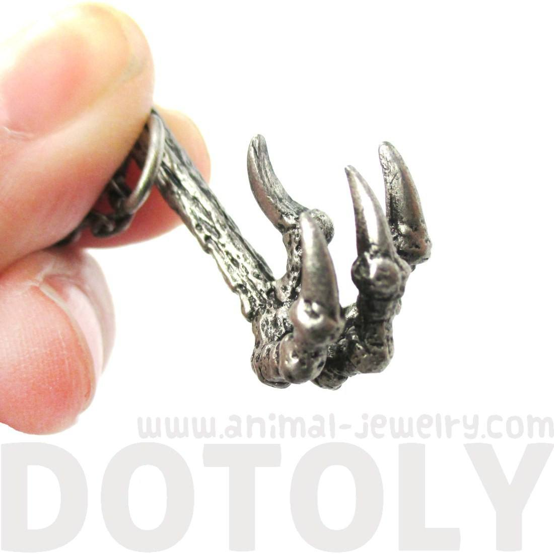 Raven Bird Skeleton Claw Talon Shape Necklace in Silver