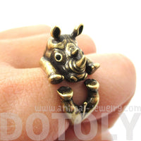 Realistic Rhinoceros Rhino Shaped Animal Ring in Brass | Size 6 to 9