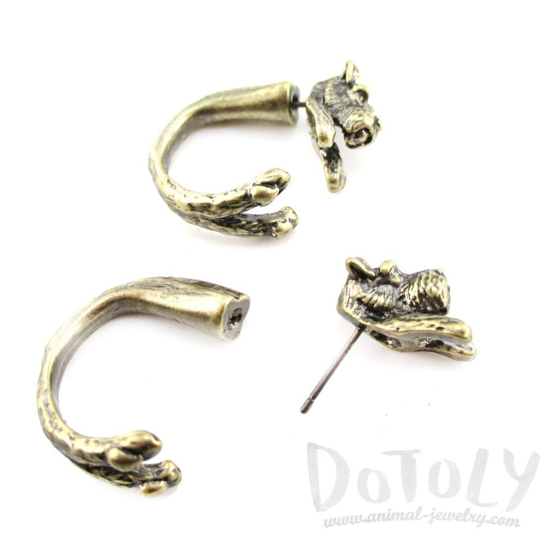 Schnauzer Shaped Front and Back Stud Earrings in Brass