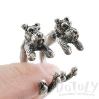 Schnauzer Shaped Front and Back Stud Earrings in Silver