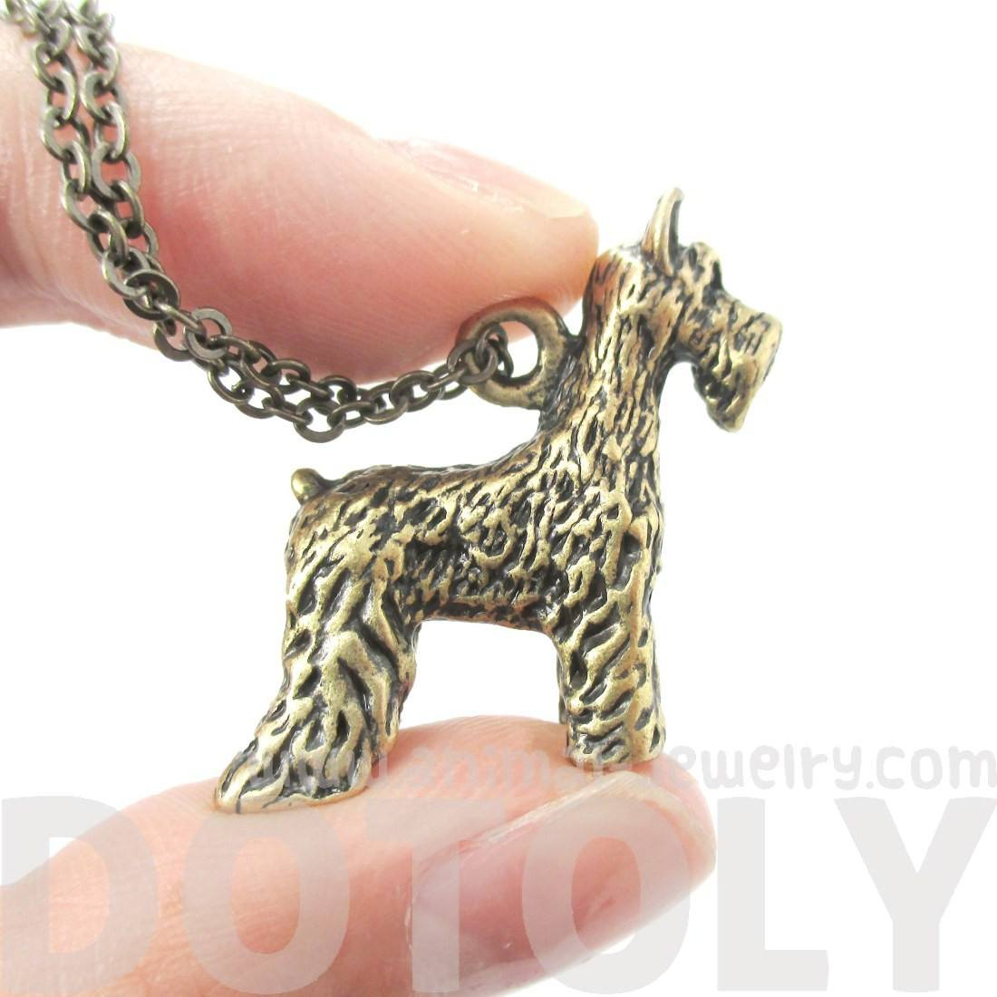 Realistic Schnauzer Puppy Dog Shaped Animal Pendant Necklace in Brass