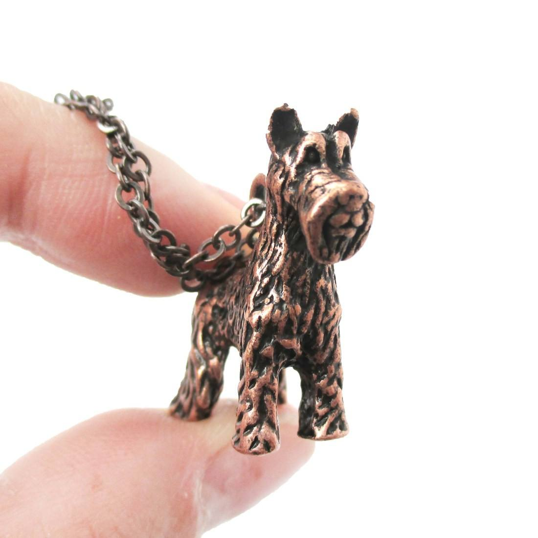 Realistic Schnauzer Puppy Dog Shaped Animal Pendant Necklace in Copper