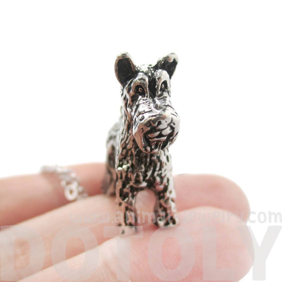 Realistic Schnauzer Dog Shaped Animal Pendant Necklace in Shiny Silver