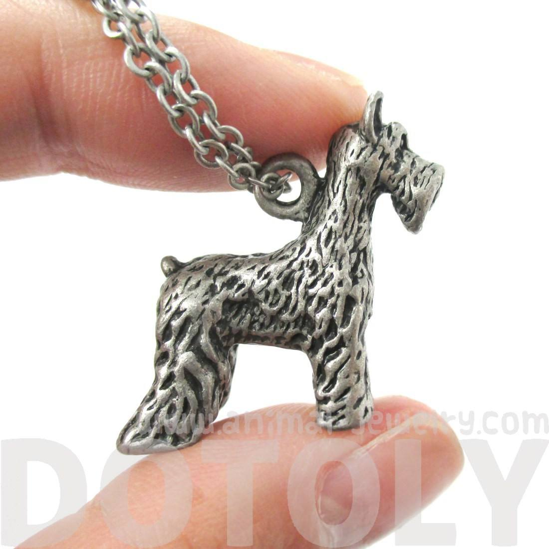 Realistic Schnauzer Puppy Dog Shaped Animal Pendant Necklace in Silver