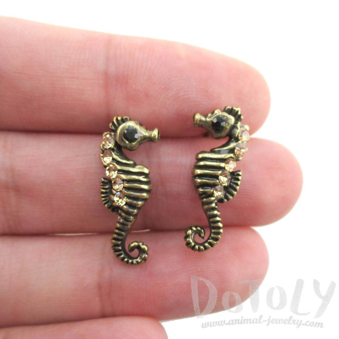 Realistic Seahorse Shaped Rhinestone Earrings in Brass