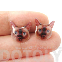 Realistic Seal Point Siamese Kitty Cat Face Shaped Resin Stud Earrings