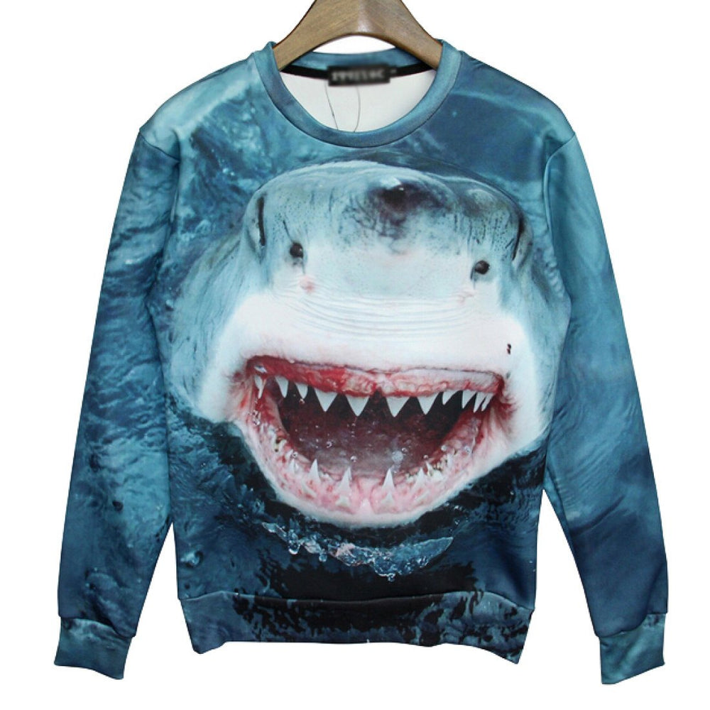 realistic-shark-jumping-out-of-the-water-graphic-print-unisex-pullover-sweater-gifts-for-animal-lovers
