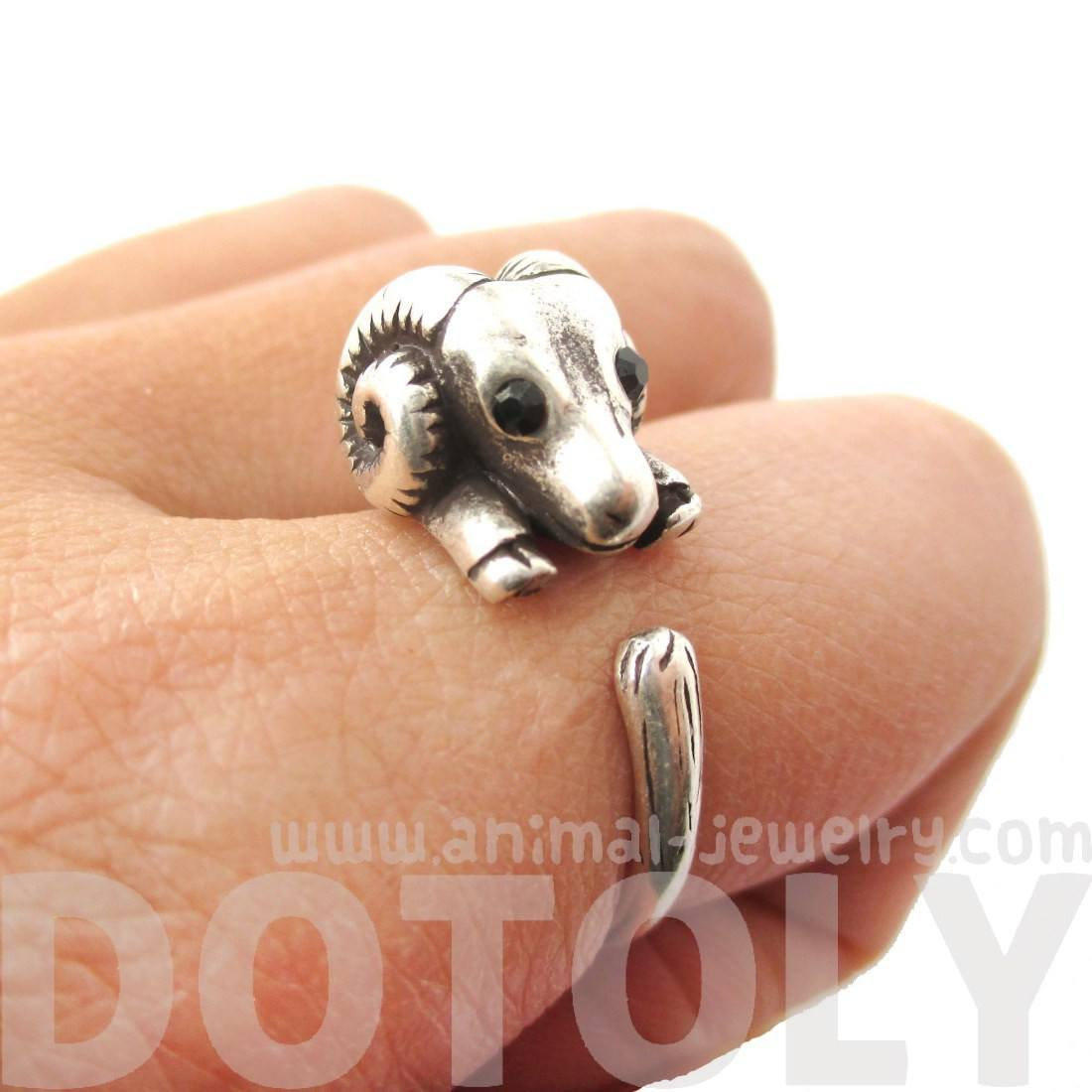 Realistic Sheep Ram Shaped Animal Wrap Ring in Silver | US Size 6 to 9