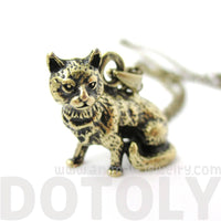 Realistic Short Hair Kitty Cat Shaped Animal Charm Necklace in Brass