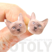Realistic Siamese Kitty Cat Face Shaped Animal Resin Stud Earrings in Grey