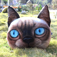 Realistic Siamese Kitty Cat Face Shaped Large Cushion