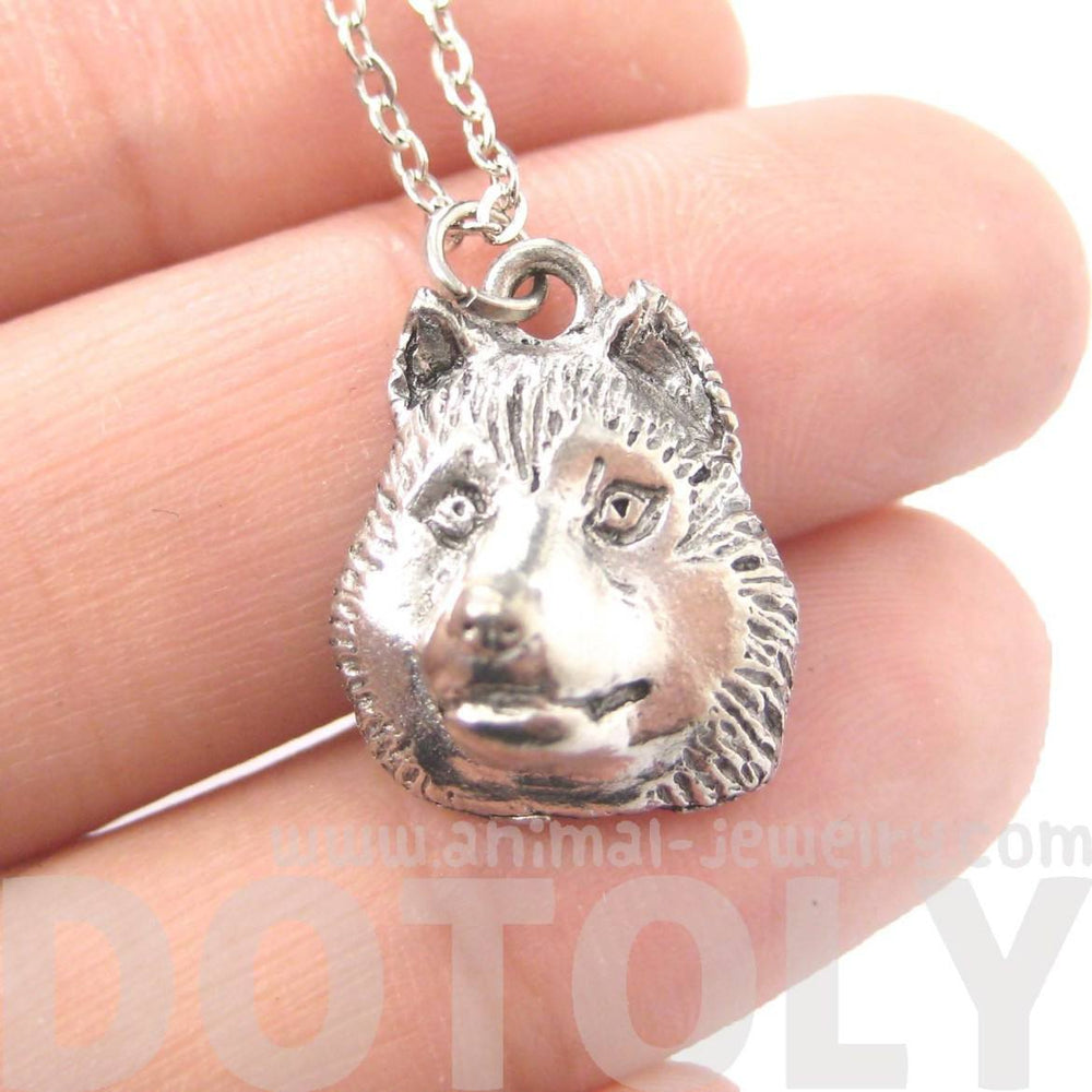 Realistic Siberian Husky Puppy Dog Head Shaped Charm Necklace | MADE IN USA