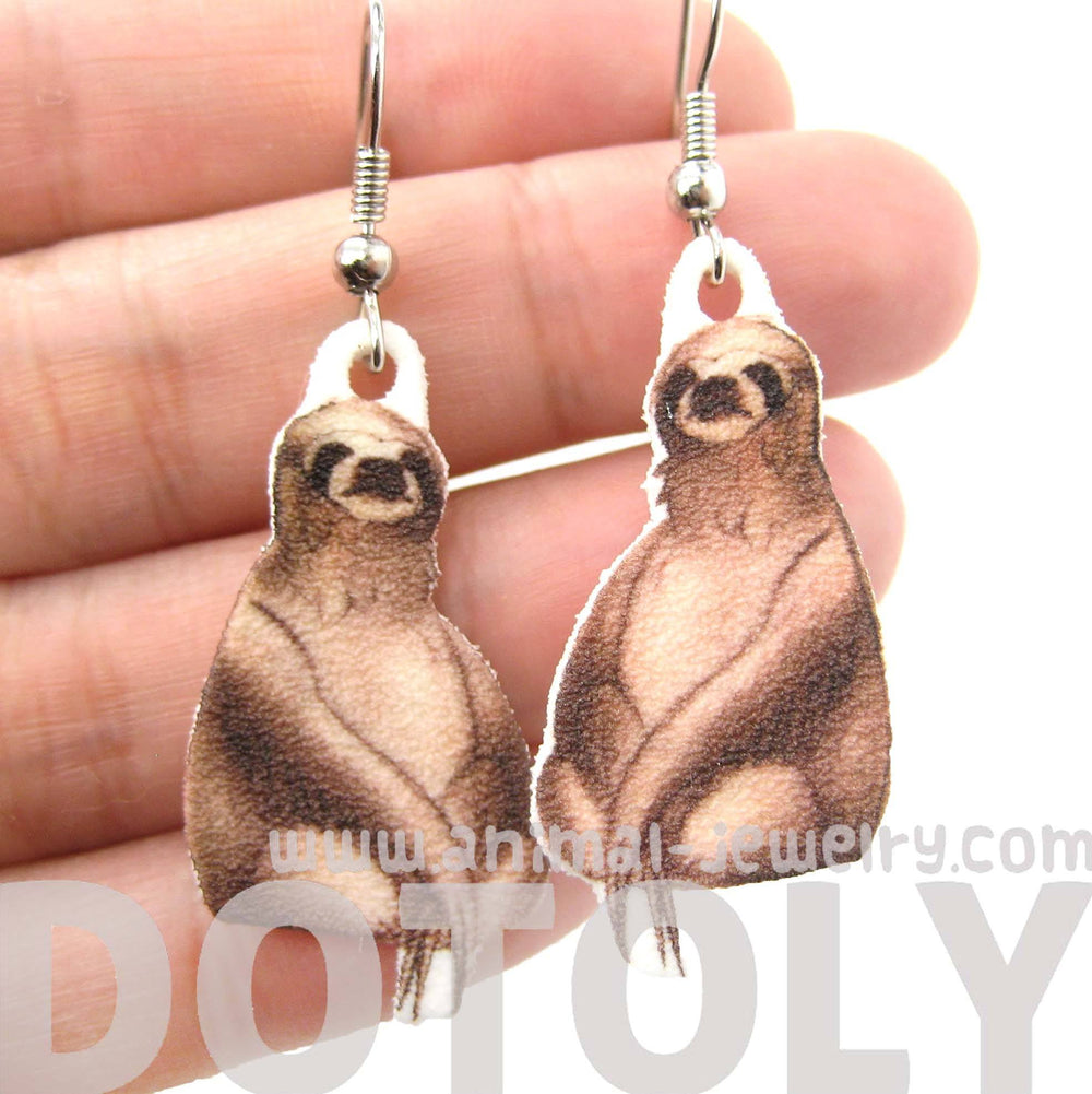 Realistic Sloth Shaped Animal Hand Drawn Dangle Earrings | Shrink Plastic