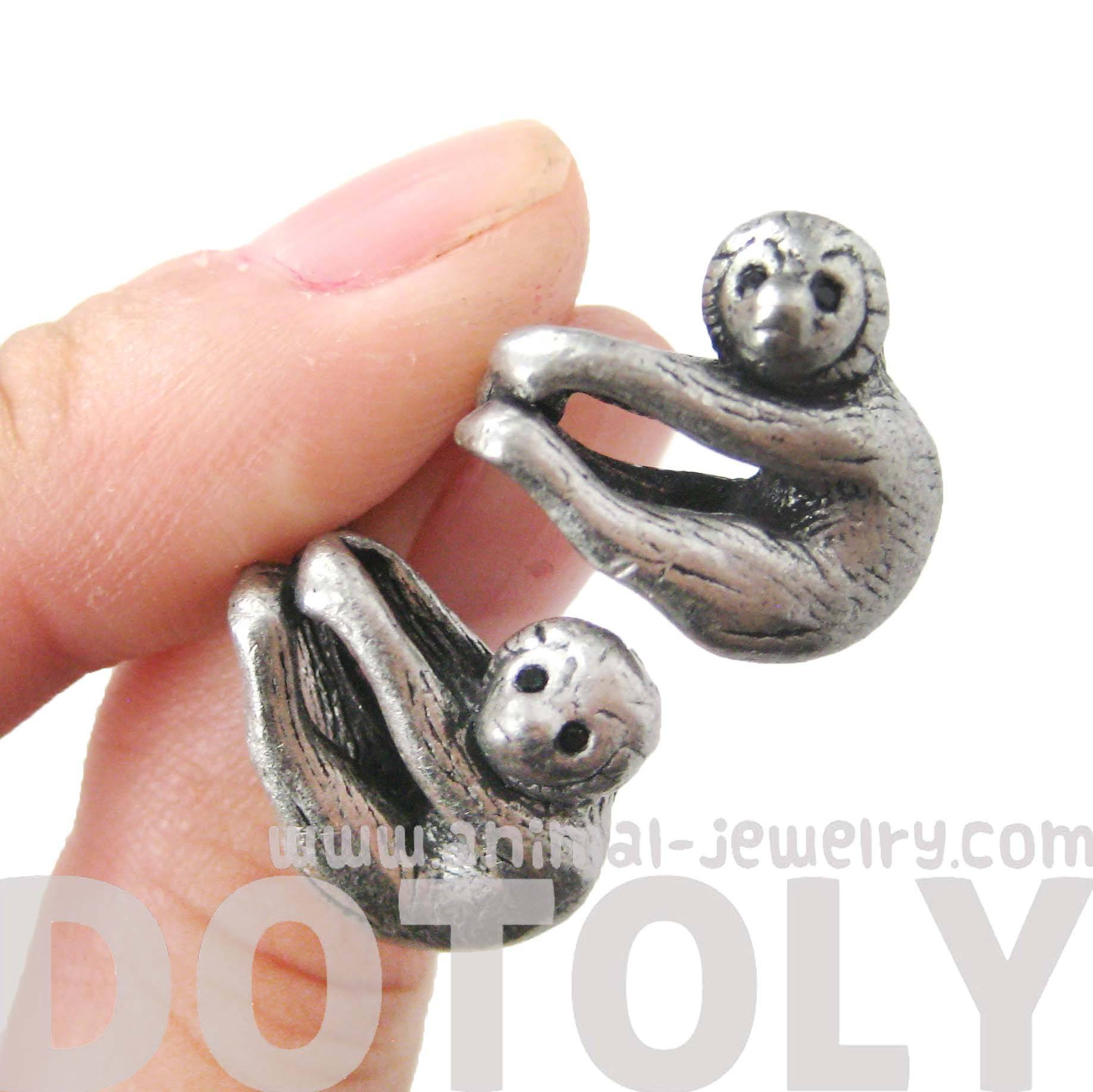 Realistic Sloth Shaped Animal Stud Earrings in Silver | Animal Jewelry