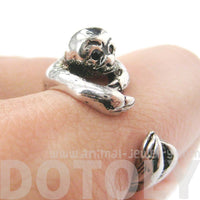 Realistic Sloth Shaped Animal Wrap Around Hug Ring in Shiny Silver