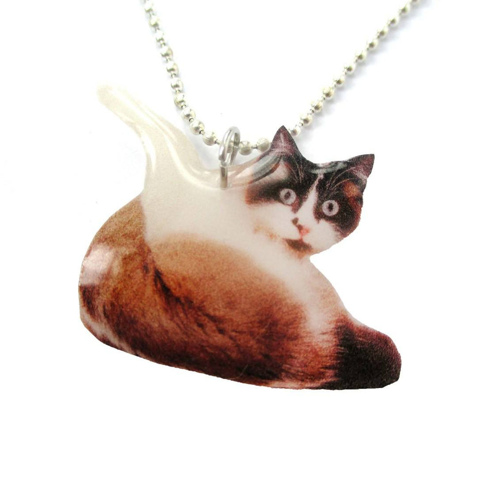 Realistic Snowshoe Kitty Cat Shaped Pendant Necklace | Handmade