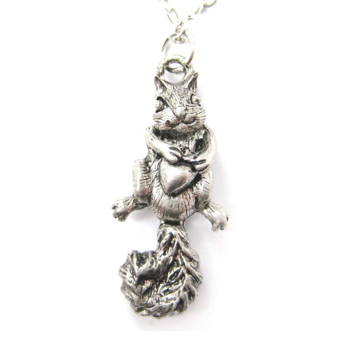 Realistic Squirrel Acorn Shaped Animal Charm Necklace | MADE IN USA
