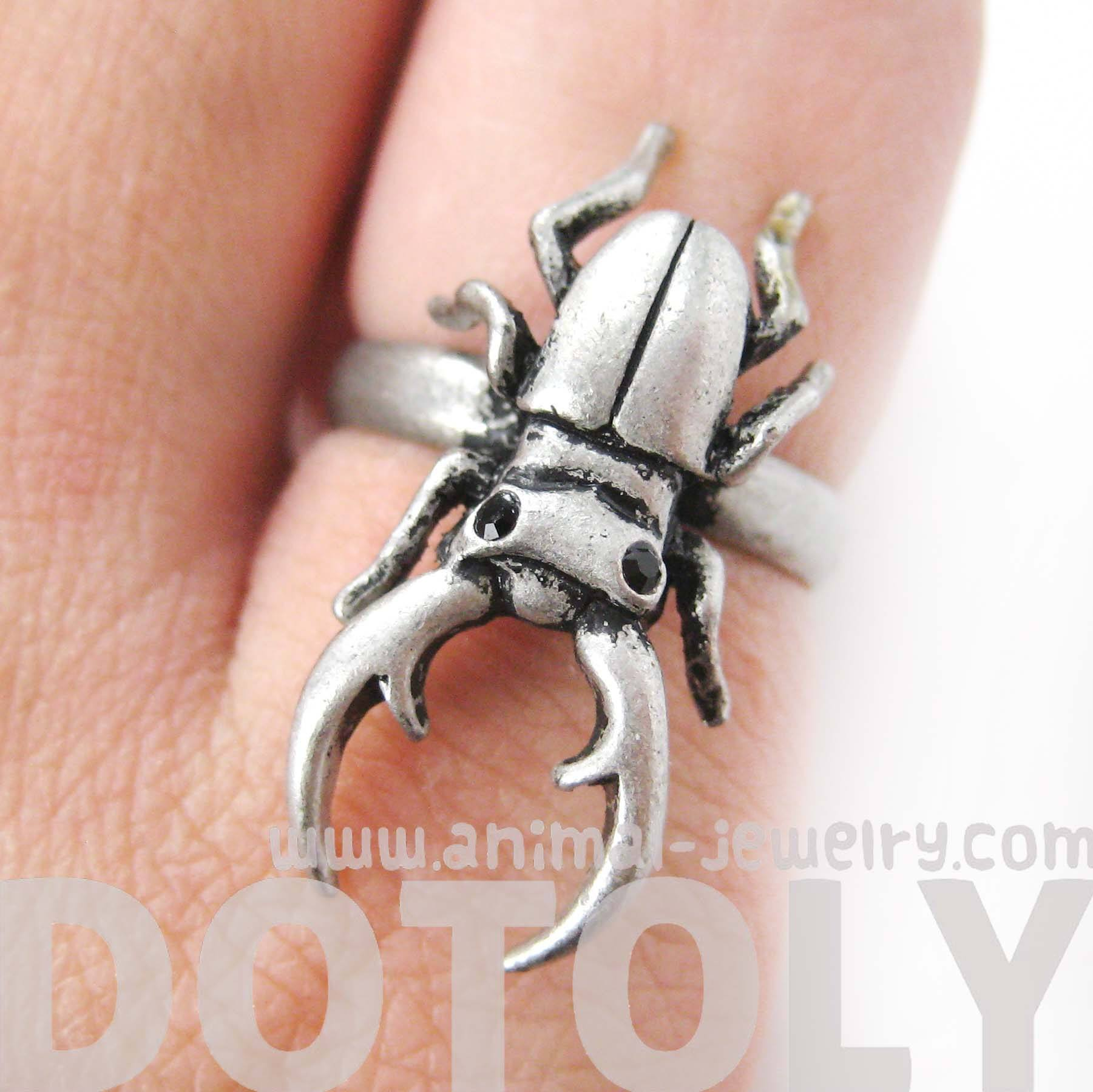 Adjustable Horned Stag Beetle Insect Animal Ring in Silver | DOTOLY