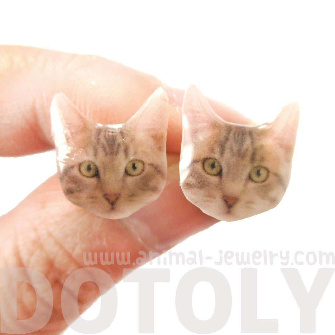 Realistic Grey Tabby Kitty Cat Face Shaped Animal Resin Stud Earrings