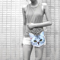 Tabby Kitty Cat Head Shaped Vinyl xBody Shoulder Bag for Cat Lovers