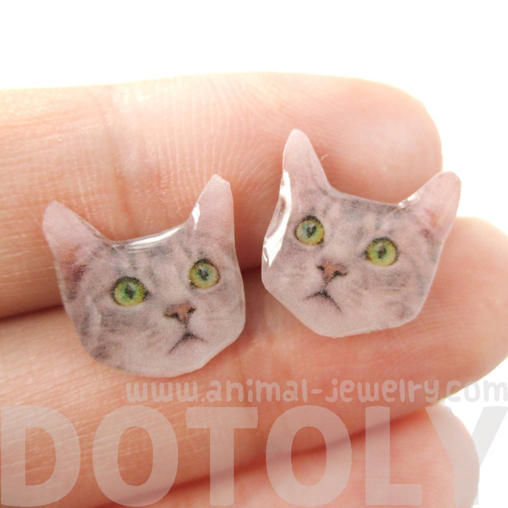 Realistic Tabby Kitty Cat with Green Eyes Shaped Resin Stud Earrings