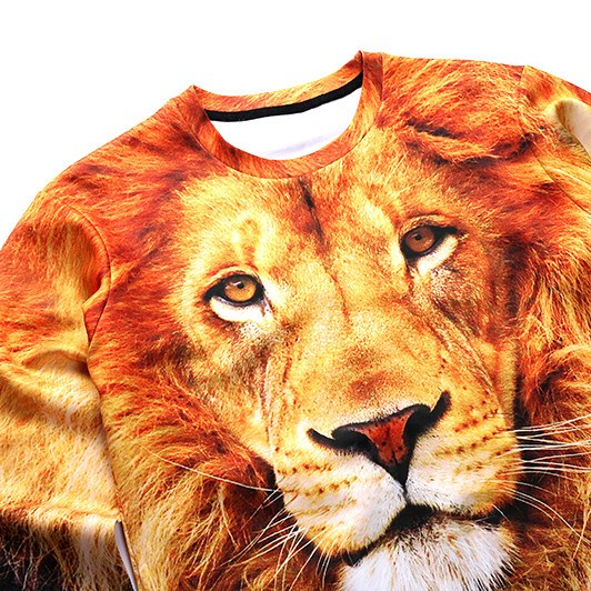 Realistic Tiger Face All Over Print Pullover Sweater