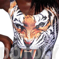 Realistic Tiger Face Animal Print Scoop Neck Sleeveless Bodysuit