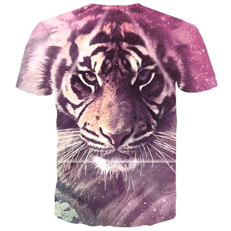 Realistic Tiger Face Graphic Tee T-Shirt in Purple