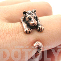 Realistic Tiger Shaped Animal Wrap Ring in Copper | US Sizes 4 to 9