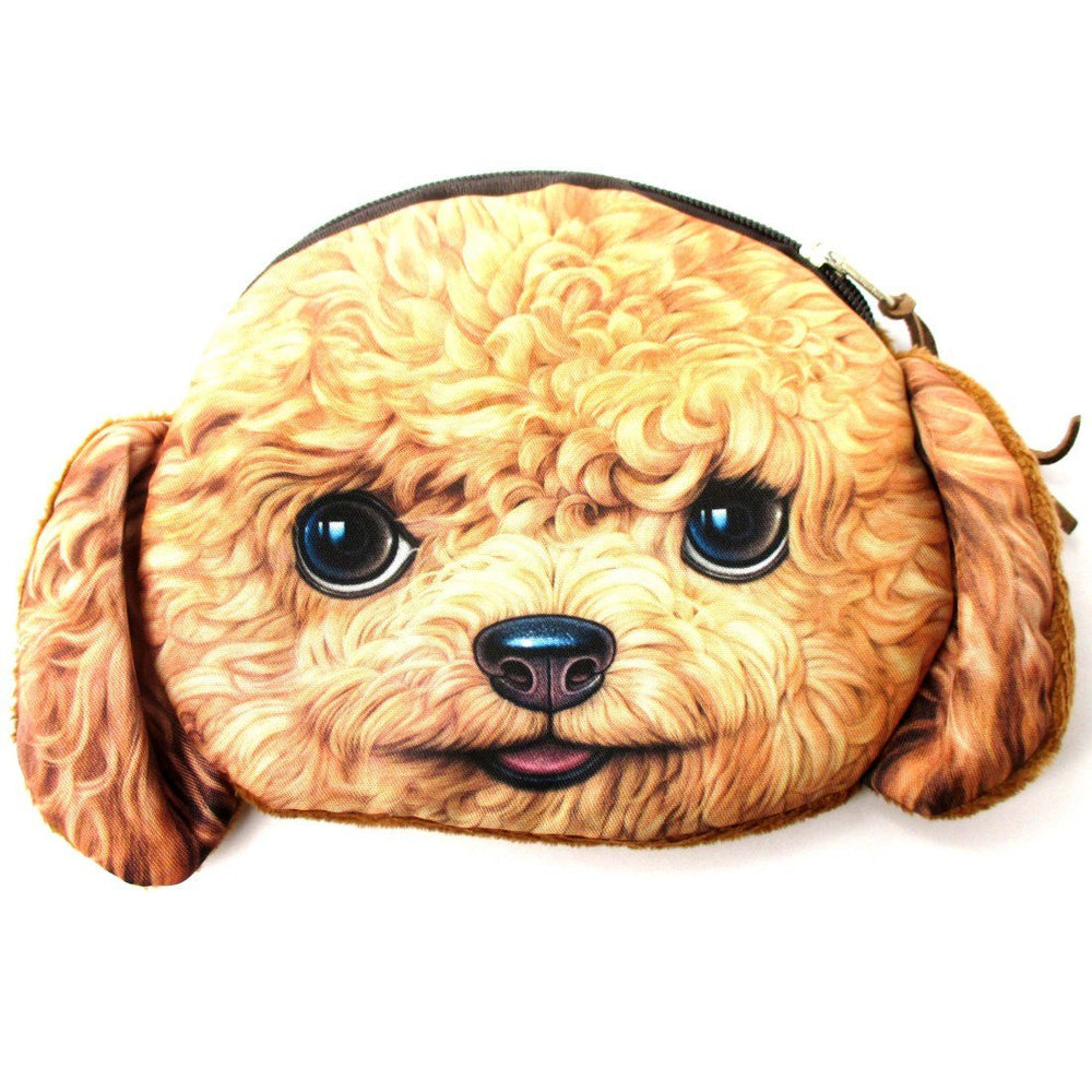 Realistic Toy Poodle Puppy Dog Face Shaped Soft Fabric Coin Purse