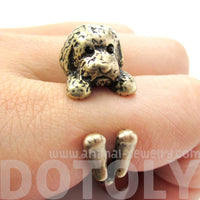 Realistic Toy Poodle Puppy Dog Shape Animal Wrap Around Ring in Brass