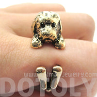Realistic Toy Poodle Puppy Dog Shape Animal Wrap Ring in Shiny Gold