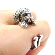 Realistic Toy Poodle Puppy Dog Shape Animal Wrap Ring in Shiny Silver