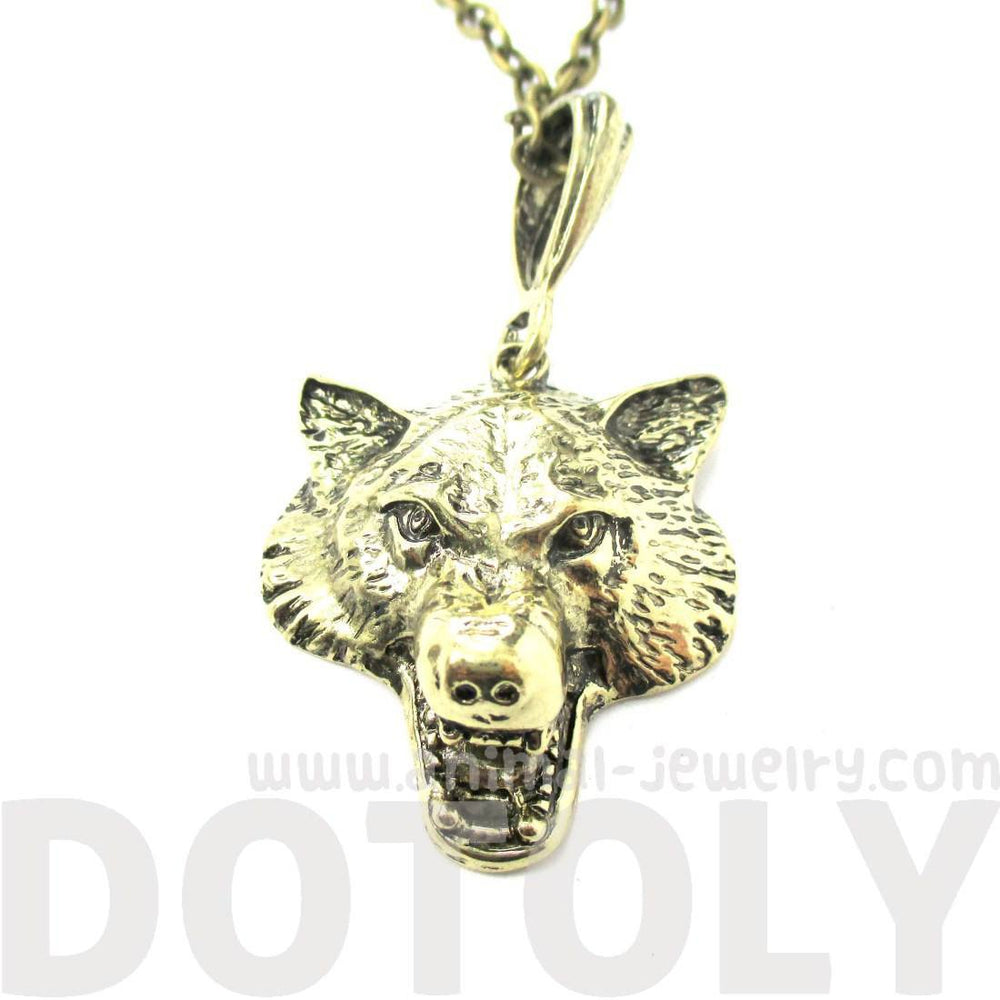 Realistic Wolf Face Shaped Animal Pendant Necklace in Brass | DOTOLY